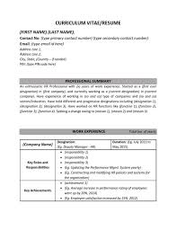 resume cv sample format   human resources hr  work experience    resume format for hr professionals