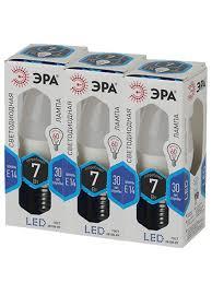Набор из 3 <b>светодиодных</b> лампочек ЭРА <b>LED B35</b>-<b>7W</b>-<b>840</b>-<b>E14</b> ...