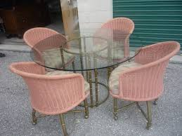 images hollywood regency pinterest furniture: vintage faux bamboo gold brass dining table patio  chairs hollywood regency mid century modern wicker