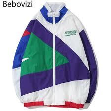 <b>Bebovizi Brand 2018 Streetwear</b> Hip Hop Jacket Geometry ...