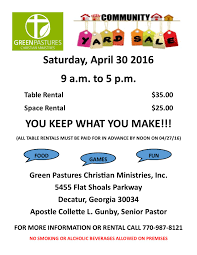 green pastures community yard green pastures christian 2016 community yard flyer