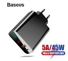 <b>Зарядное устройство Baseus</b> Quick Charge 4,0 + USB-C 45W PD ...