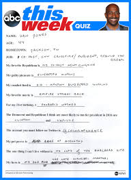 van jones personal trivia questions and answers abc news see his handwritten answers below and be sure to tweet us thisweekabc and tell us who you d like to be our next participant