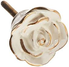 Darice Decorative Ceramic-Textured-<b>Ivory</b> Gold <b>Rose Knob</b>
