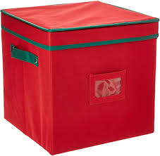 Elf Stor Ornament <b>Storage Chest</b> with Dividers - Holds 64 Balls, <b>Red</b>