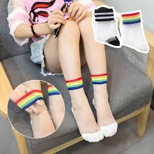 1 Pair Summer Girls Lovely Rainbow Stripe <b>Crystal Silk</b> Socks ...