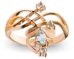 Купить Эстет <b>Кольцо с 4 топазами</b> из красного золота ...