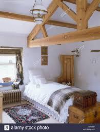 Loft Conversion Bedroom Design Wooden Apex Beams In Country Loft Conversion Bedroom With White