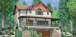 Walkout Basement House Plans  Daylight Basement on Sloping Lot Daylight basement house plans  Craftsman house plans  house plans   wrap around porch