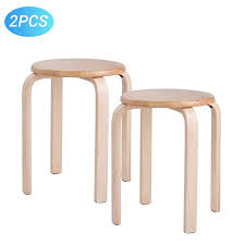 Modern K/D Rubber Wooden <b>Stools</b> Practical Round <b>Stacking</b> ...