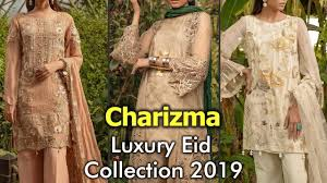 <b>New</b> CHARIZMA Luxury EID <b>Organza</b> Suits <b>2019</b> | Embroidered ...