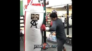 king ryan garcia dents canelo's heavy bag with nasty combos!