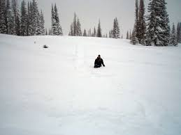usgs co rocky mountain regional snowpack chemistry monitoring worker wades through deep snow to recover snowmobile stuck near buffalo pass colo