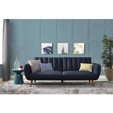 blue sofas living room: mid century blue linen novogratz brittany futon