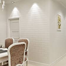 Off White <b>3D</b> Modern Design <b>Brick Wallpaper</b> Roll <b>Vinyl</b> Wall ...