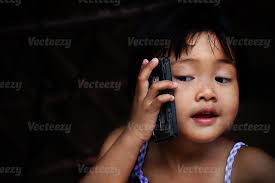 <b>Happy baby</b> girl talking on <b>mobile phone</b> Stock Photo