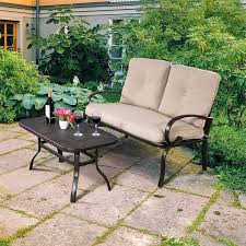 <b>2 Pcs Patio Outdoor</b> Cushioned Coffee Table <b>Seat</b> High Quality ...