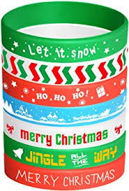 FEPITO 35 Pieces <b>Christmas Wristband Silicone</b> Wristbands Rubber ...