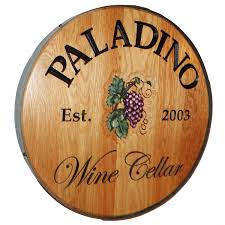 wood sign glass decor wooden kitchen wall: personalized reclaimed wine barrel head with wine cellar and grapes