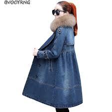 High Quality Fox Fur Collar Denim Jacket <b>2018 Winter New</b> Loose ...