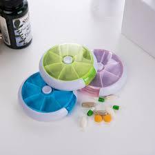 7 cases round <b>pill box 7</b> days plastic storage box rotating <b>portable</b> ...