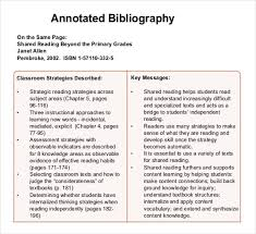 annotated bibliography templates    free word pdf documents
