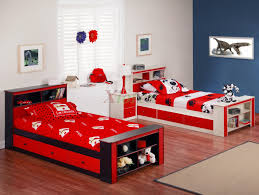 cheap kids bedroom ideas: cheap kids bedroom sets with double bed with red bedcover and wooden floor design with blue