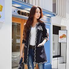 <b>Dabuwawa Vintage</b> Long Coat Women <b>New</b> Open Stitch Navy Blue ...