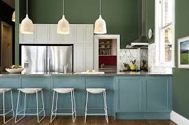 painted blue kitchen cabinets house:  green blue kitchen
