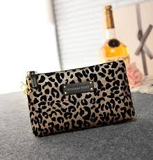 victoria 39 s secret black gold leopard accessories cosmetic bag