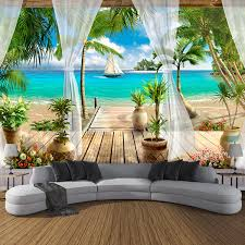 <b>Custom 3D</b> Photo Wallpaper Balcony Sandy Beach <b>Sea View 3D</b> ...