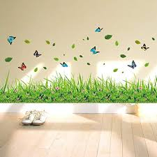 ufengke Green Grass Flowers Butterflies Wall Decals ... - Amazon.com