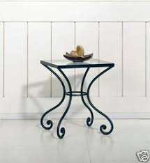 new wrought iron lampside tablebedside glass top black wrought iron table