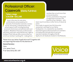 professional officer casework voice the union job description