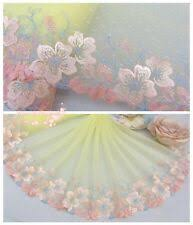 """9.5""""*1Y Embroidered <b>Tulle Lace</b> Trim~Sweet Yellow+<b>Pink</b>+Blue ..."""