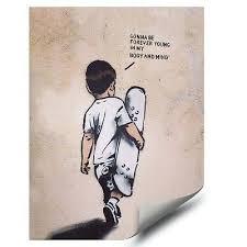 <b>Banksy</b> Street <b>Graffiti</b> Art Skateboard Boy Forever Young <b>HD</b> Vinyl ...