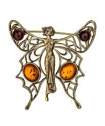 <b>Брошь</b> в виде бабочки из <b>латуни</b> и <b>янтаря</b> / <b>Латунные броши</b> с ...