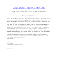 employment letter of recommendation samples recommendation letter