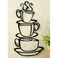 Wall Art Kitchen Decoration New Coffee House Cup Java Silhouette Wall Art Metal Mug Kitchen