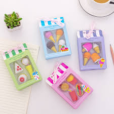 4Pcs/Box <b>Kawaii Ice cream</b> Hamburger Erasers for Office <b>School</b> ...