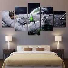 5 Panel Astronaut <b>Abstract</b> Lunar Landscape Modern Decor Canvas ...