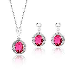 Lovelychica Pink Crystal <b>Pendant Necklace</b> Stud <b>Earrings</b> Bridal ...