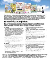 stellenanzeige it administrator wort bild verlag stellenanzeige it administrator