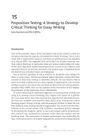 proposition testing a strategy to develop critical thinking for the palgrave handbook of critical thinking in higher education
