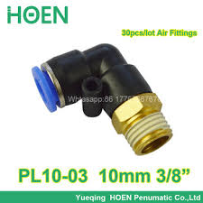 "100pcs 10mm thread 3/8"" air straight hose pneumatic fitting PL10-03 ..."