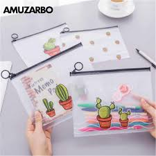 1 PCS Cute <b>Cactus PVC Waterproof</b> Pencil Cases Transparent ...