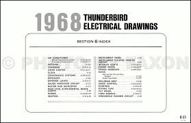 ford thunderbird wiring diagram original table of contents page