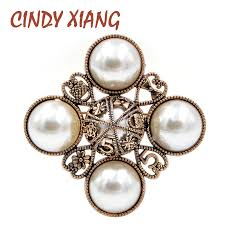 <b>CINDY XIANG New Arrival</b> 2018 Pearl Cross Style Brooches for ...