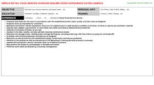 service worker resumes   retail food service worker