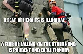 A fear of heights is illogical A fear of falling, on the other ... via Relatably.com
